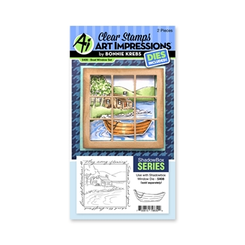Art Impressions BOAT WINDOW SET Clear Stamps and Dies 5409