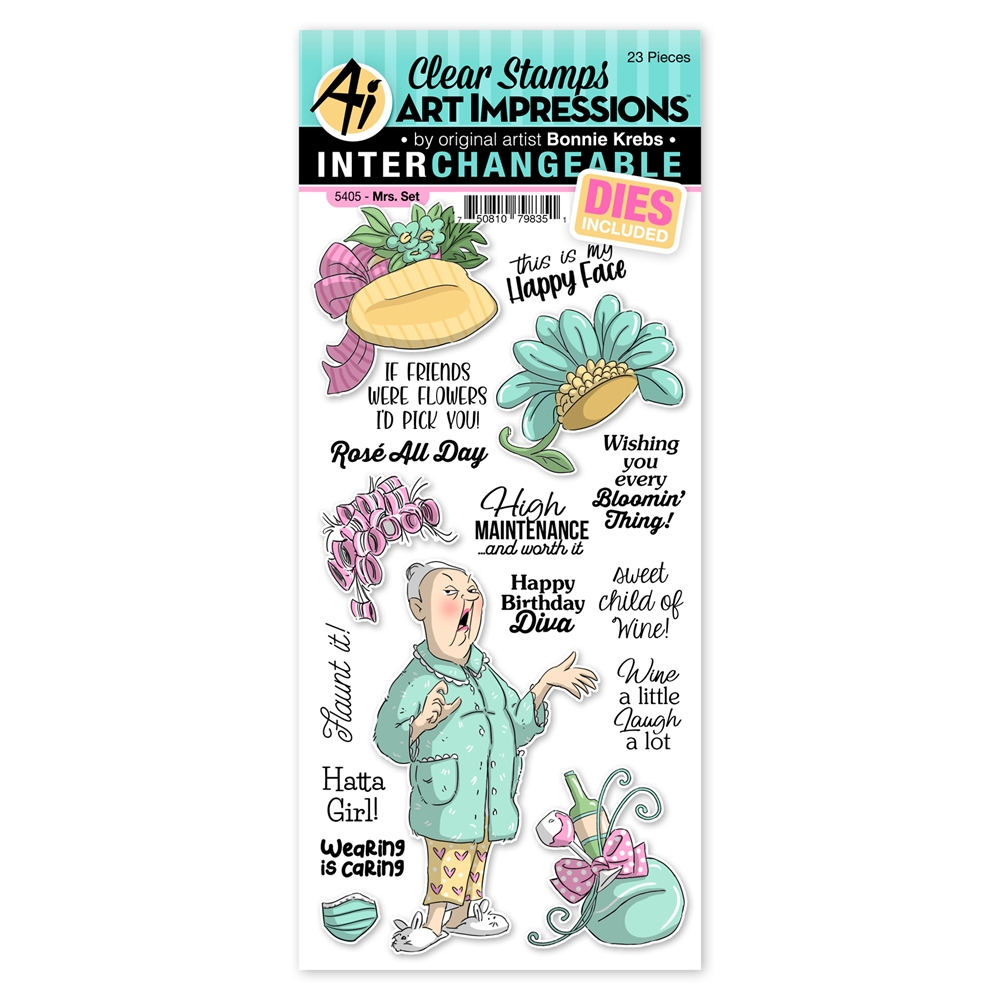 Art Impressions MRS. SET Interchangeable Clear Stamps and Dies 5405 Hats Off zoom image