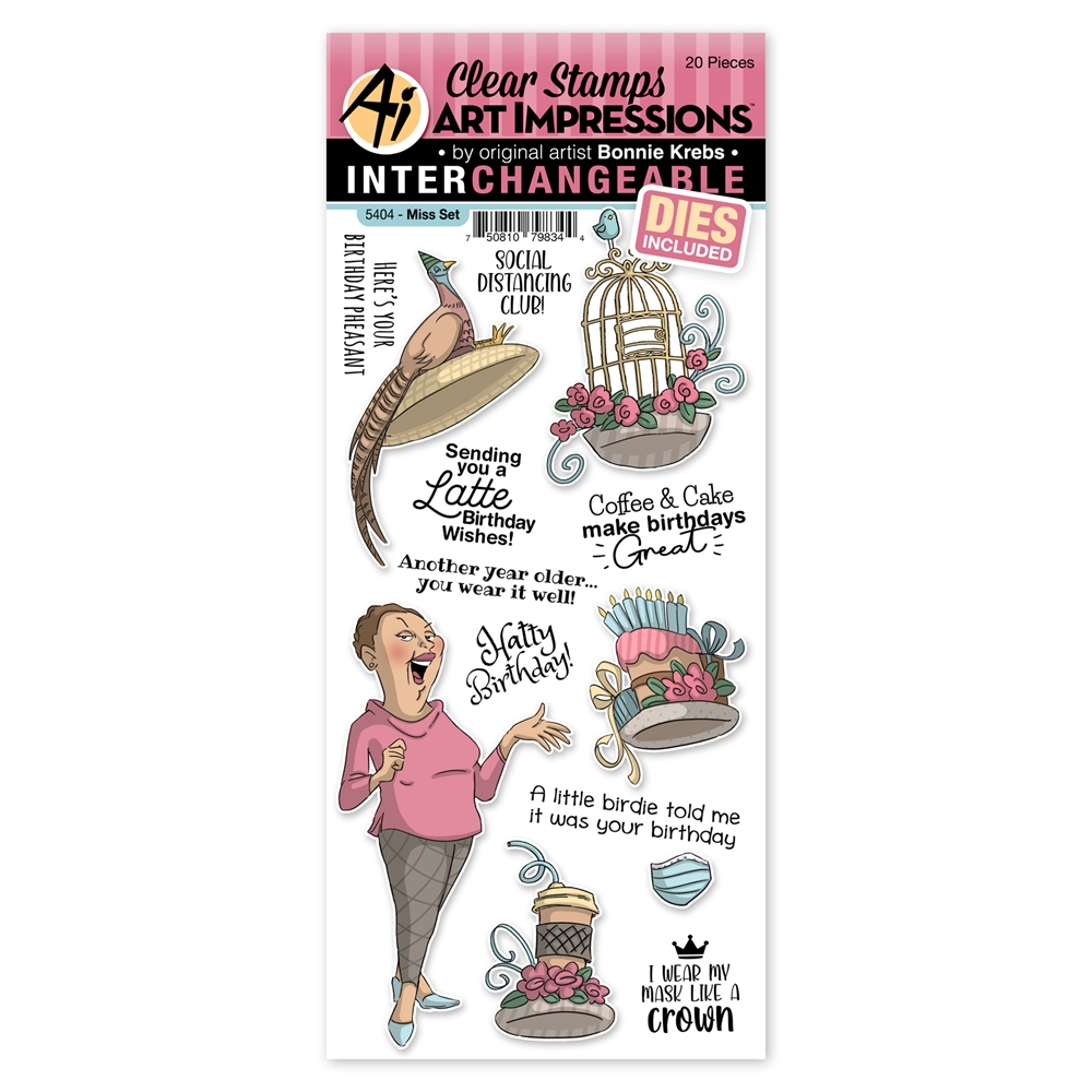 Art Impressions MISS SET Interchangeable Clear Stamps and Dies 5404 Hats Off zoom image