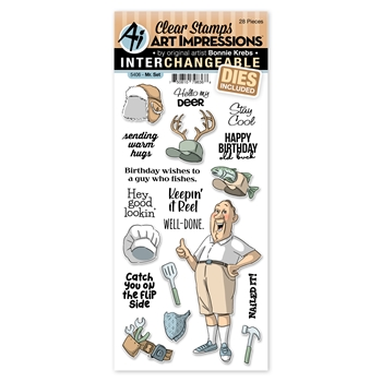 Art Impressions MR. SET Interchangeable Clear Stamps and Dies 5406 Hats Off