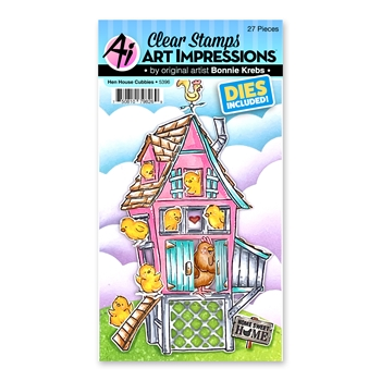 Art Impressions HEN HOUSE CUBBIES Clear Stamps and Dies 5396