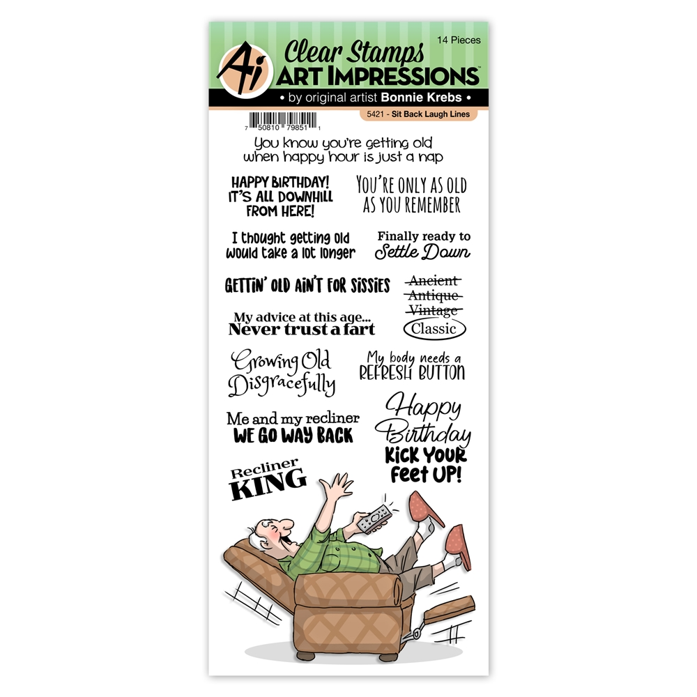 Art Impressions SIT BACK Laugh Lines Clear Stamps 5421 zoom image