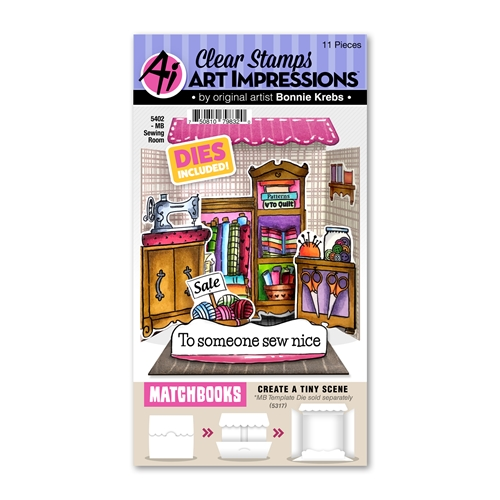 Art Impressions Matchbook SEWING ROOM Clear Stamps and Dies 5402 Preview Image