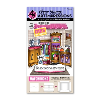 Art Impressions Matchbook SEWING ROOM Clear Stamps and Dies 5402