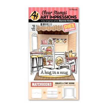 Art Impressions Matchbook COFFEE SHOP Clear Stamps and Dies 5403