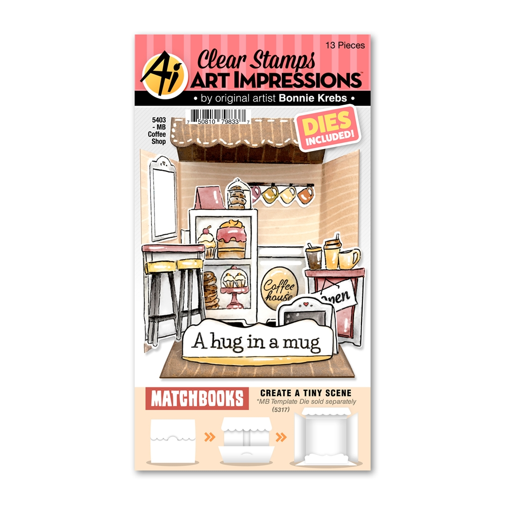Art Impressions Matchbook COFFEE SHOP Clear Stamps and Dies 5403 zoom image