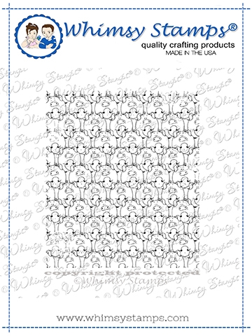 Whimsy Stamps PIGGIES Background Cling Stamp DDB0058 Preview Image