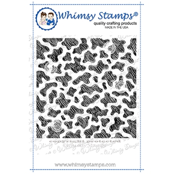 Whimsy Stamps COW PRINT Background Cling Stamp DDB0057