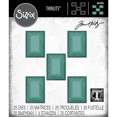 Tim Holtz Sizzix STACKED TILES RECTANGLES Thinlits Dies 665433 Preview Image