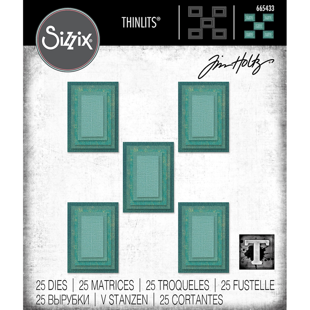 Tim Holtz Sizzix STACKED TILES RECTANGLES Thinlits Dies 665433 zoom image