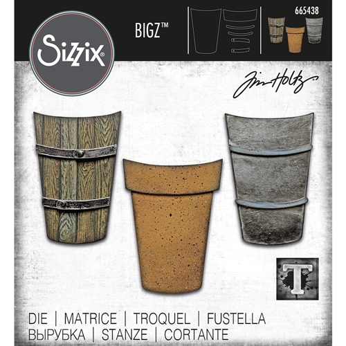 Tim Holtz Sizzix POTTED 2 Die Bigz 665438 Preview Image