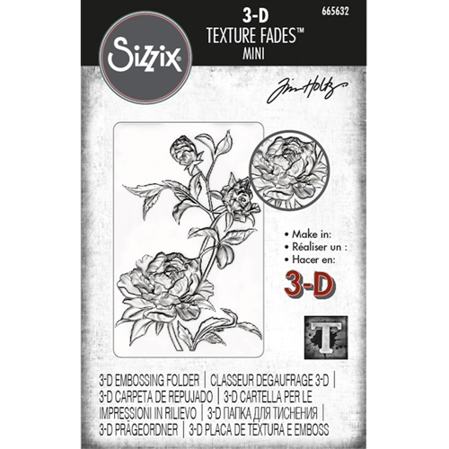 Tim Holtz Sizzix MINI ROSES 3D Texture Fades Embossing Folder 665632 Preview Image