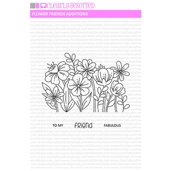Clearly Besotted FLOWER FRIENDS ADDITIONS Clear Stamps