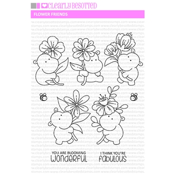 Clearly Besotted FLOWER FRIENDS Clear Stamps