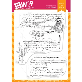 Wplus9 SCRIPT BACKGROUND Clear Stamps clwp9scba
