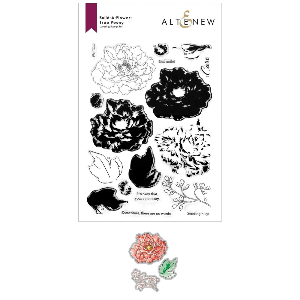 Altenew Build a Flower TREE PEONY Clear Stamp and Die Bundle ALT6156 zoom image