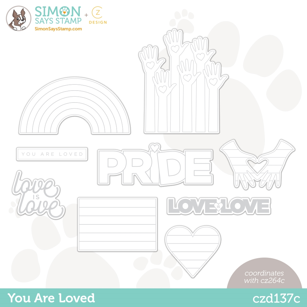 CZ Design Wafer Dies YOU ARE LOVED czd137c Rainbows zoom image