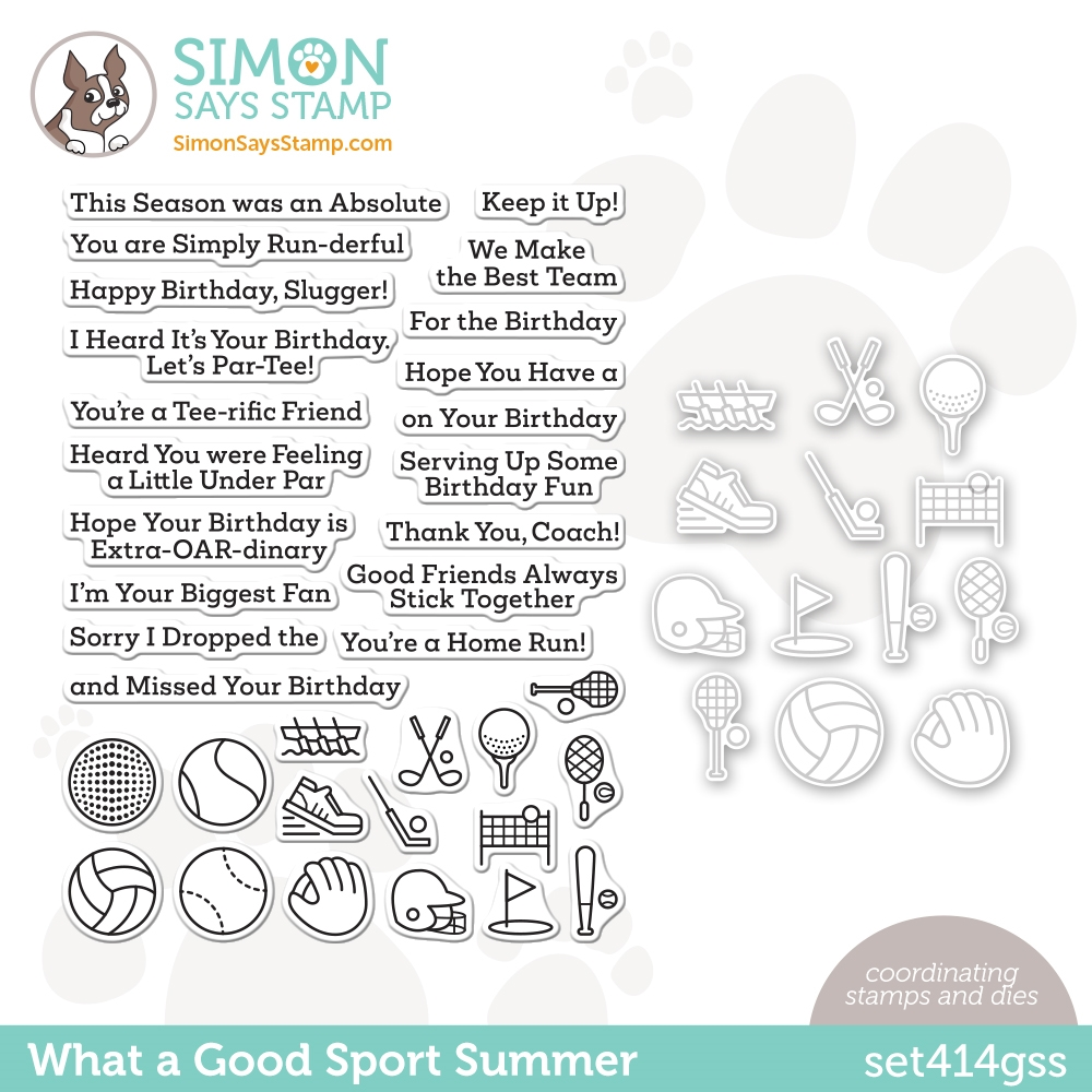 Simon Says Stamps and Dies WHAT A GOOD SPORT SUMMER set414gss Rainbows * zoom image