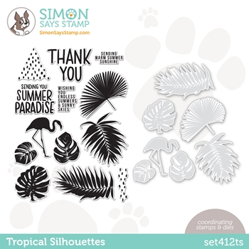 Simon Says Stamps and Dies TROPICAL SILHOUETTES set412ts Rainbows