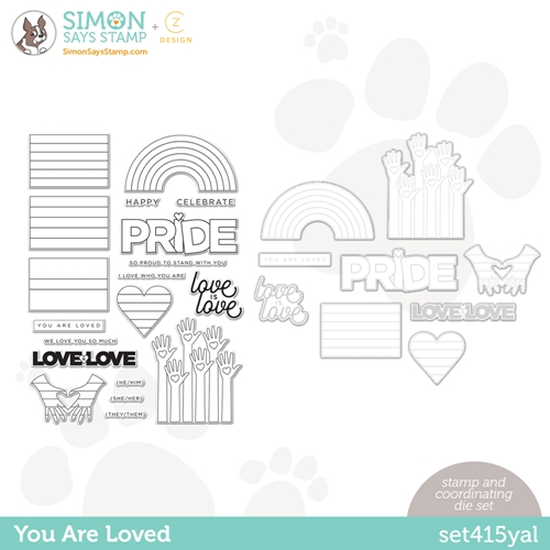 CZ Design Stamps and Dies YOU ARE LOVED set415yal Rainbows Preview Image