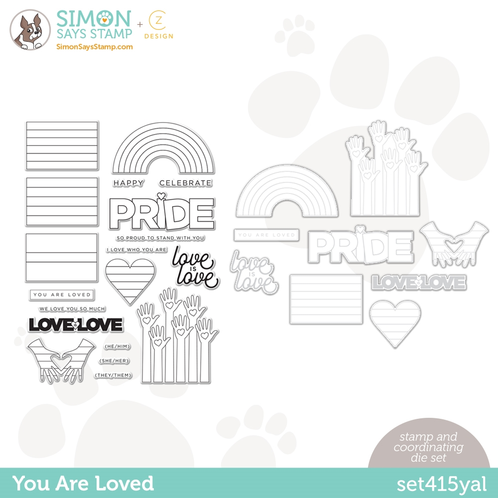 CZ Design Stamps and Dies YOU ARE LOVED set415yal Rainbows zoom image