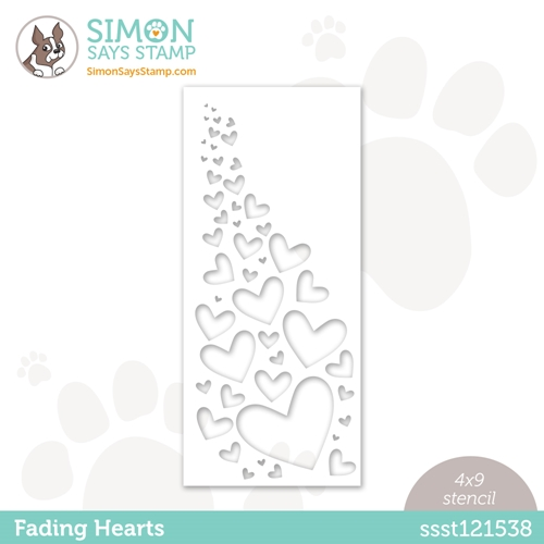Simon Says Stamp Stencil FADING HEARTS ssst121538 Rainbows Preview Image