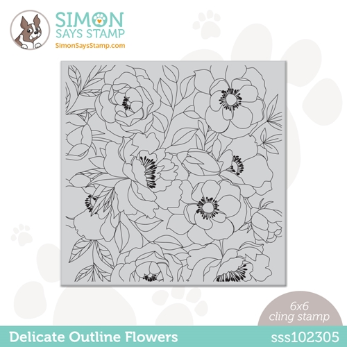 Simon Says Cling Stamp DELICATE OUTLINE FLOWERS sss102305 Rainbows Preview Image
