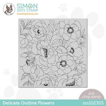 Simon Says Cling Stamp DELICATE OUTLINE FLOWERS sss102305 Rainbows