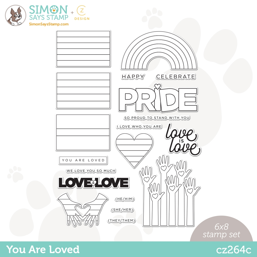 CZ Design Clear Stamps YOU ARE LOVED cz264c Rainbows zoom image