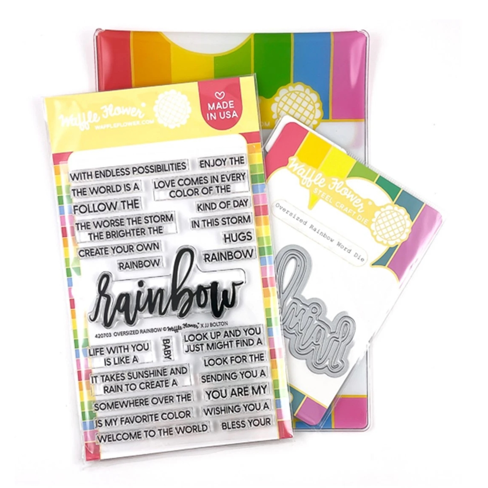 Waffle Flower OVERSIZED RAINBOW Clear Stamp and Die Combo WFC703 zoom image