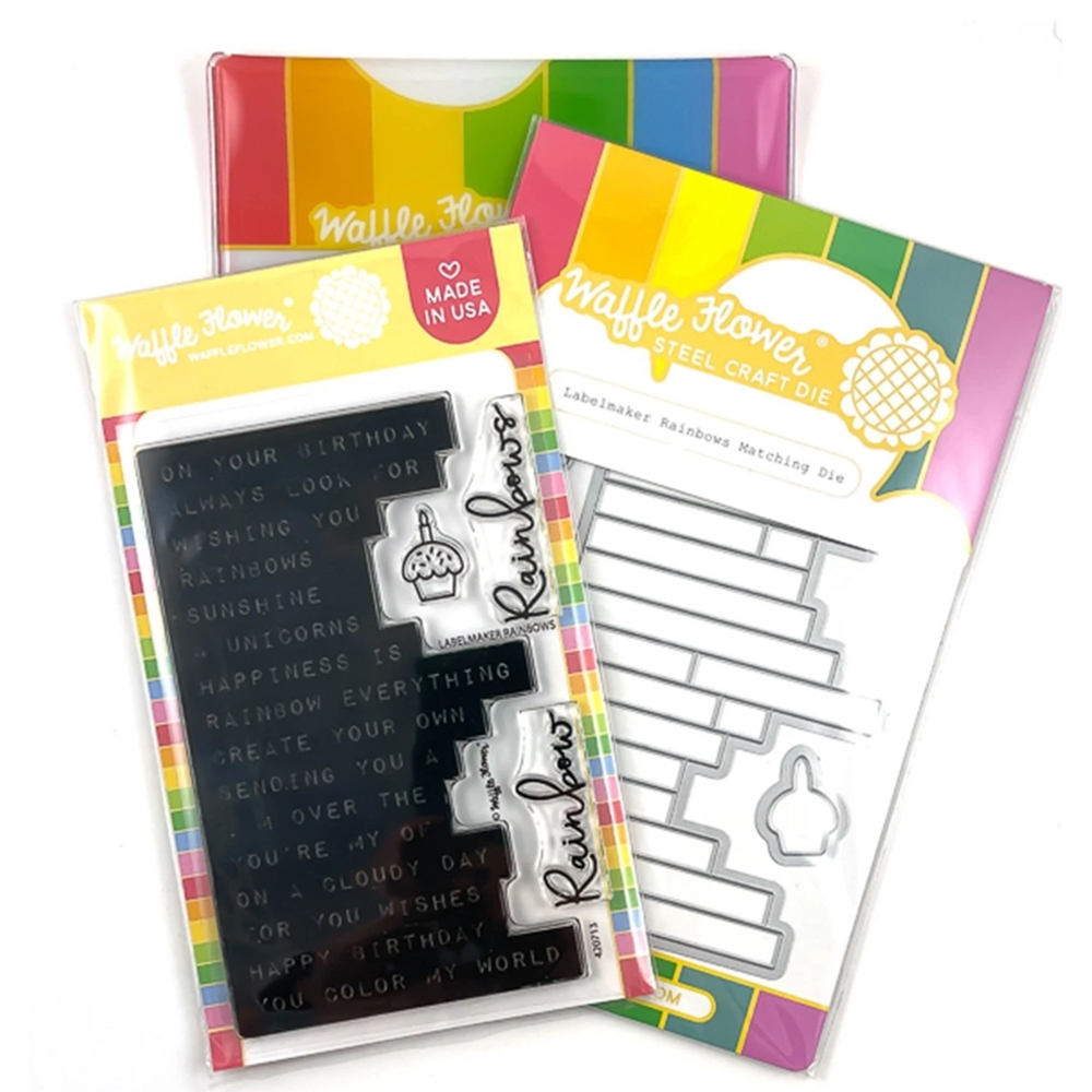 Waffle Flower LABEL MAKER RAINBOW Clear Stamp and Die Combo WFC717  zoom image