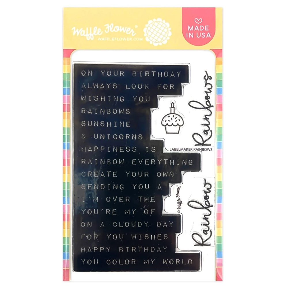 Waffle Flower LABEL MAKER RAINBOW Clear Stamps 420717  zoom image