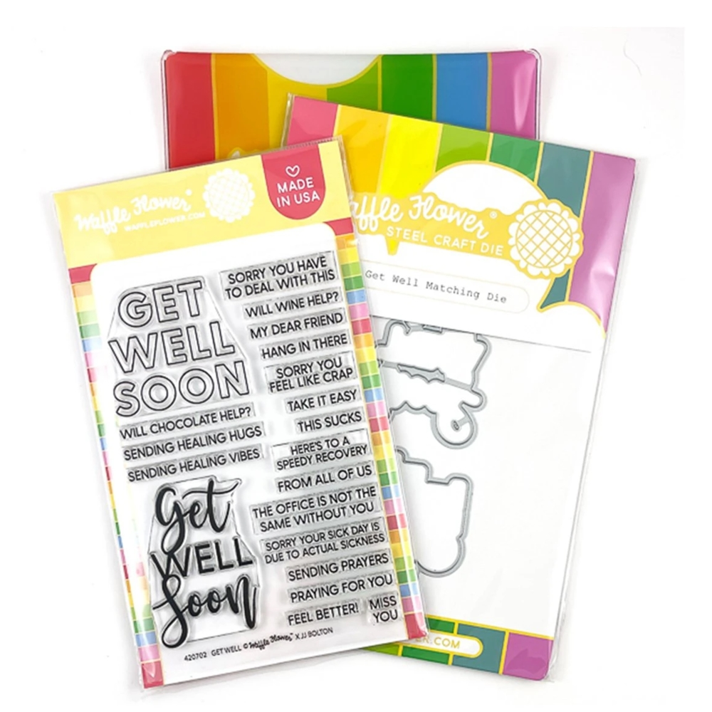 Waffle Flower GET WELL Clear Stamp and Die Combo WFC701  zoom image