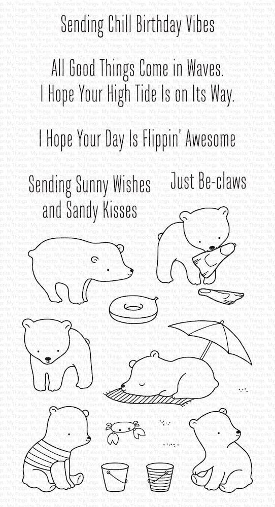 My Favorite Things BEACH BEAR Clear Stamps cs577 zoom image
