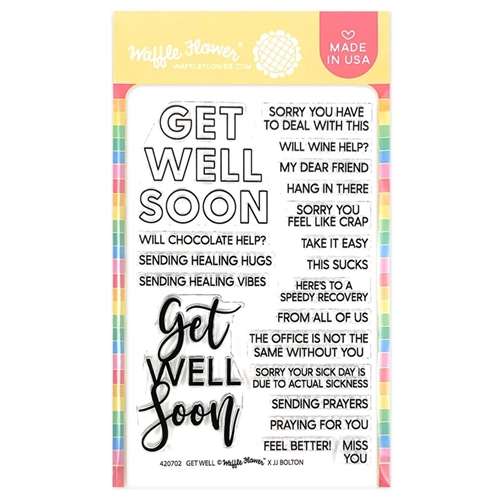 Waffle Flower GET WELL Sentiments Clear Stamps 420701 Preview Image