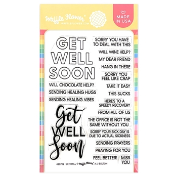 Waffle Flower GET WELL Sentiments Clear Stamps 420701