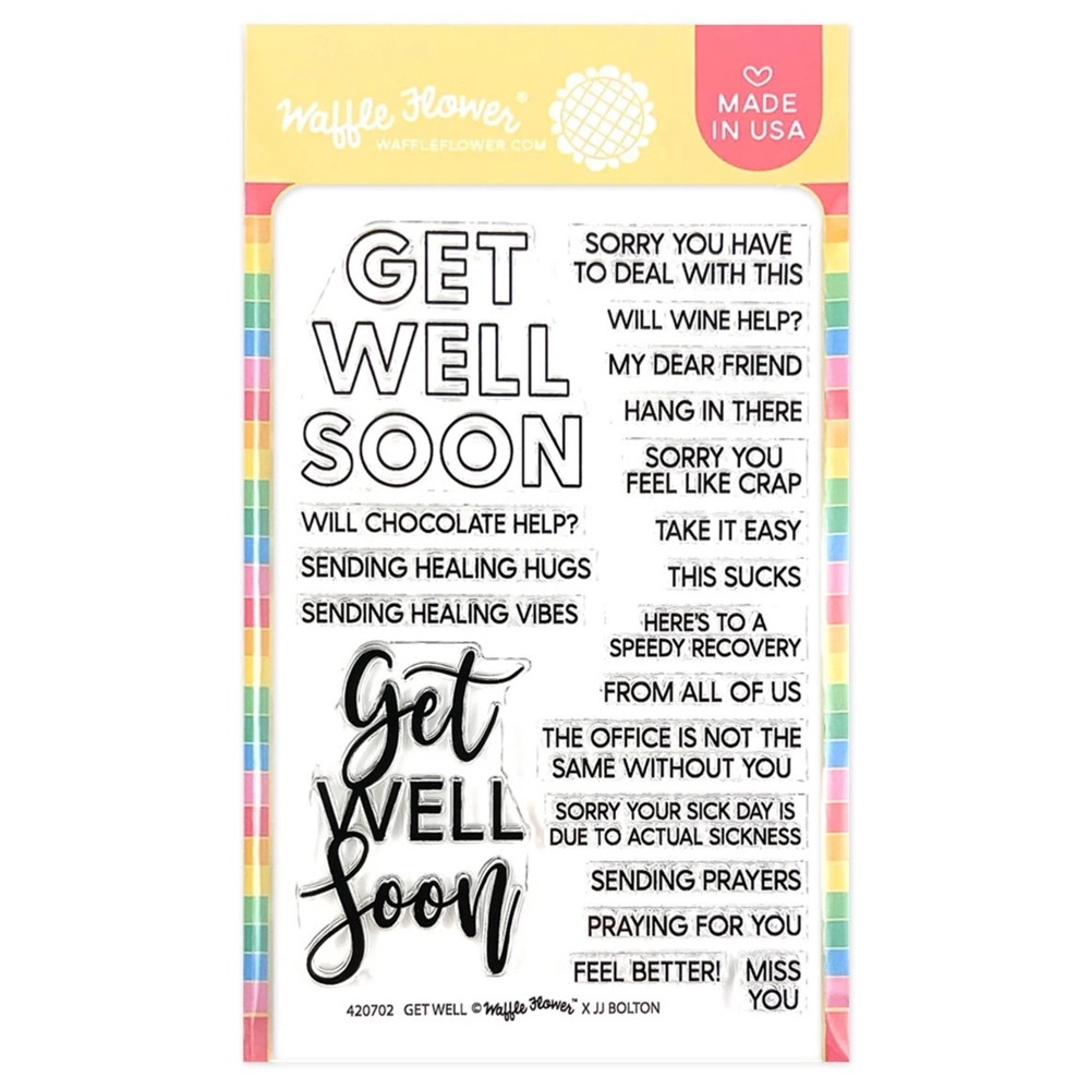 Waffle Flower GET WELL Sentiments Clear Stamps 420701 zoom image