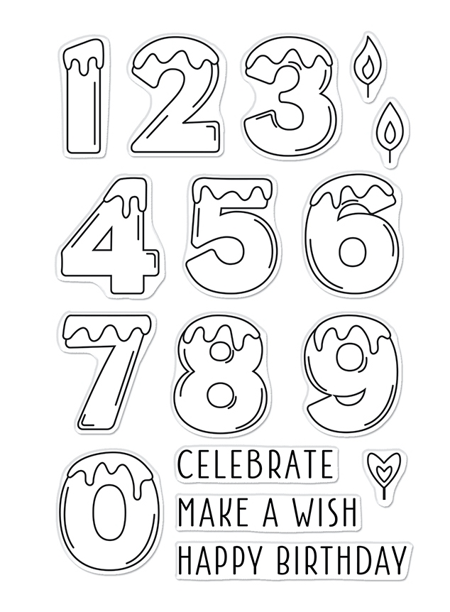Hero Arts Clear Stamps NUMBER CANDLES CM549 zoom image