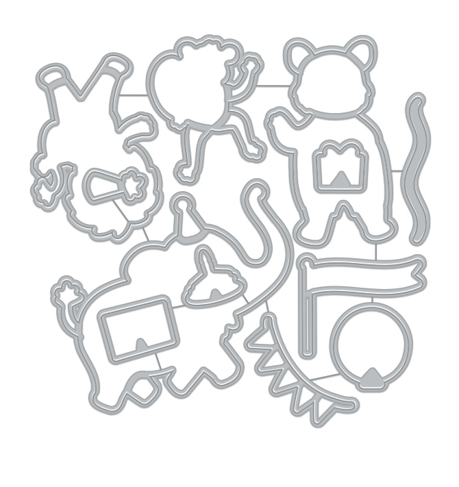 Hero Arts Frame Cuts Dies PARTY ANIMALS DI905 zoom image