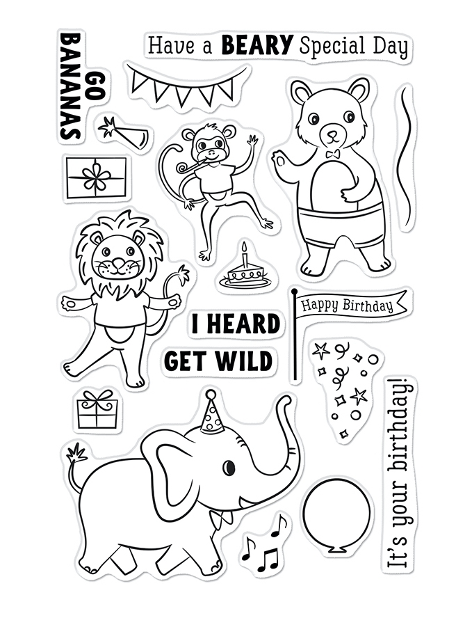 Hero Arts Clear Stamps PARTY ANIMALS CM548 zoom image
