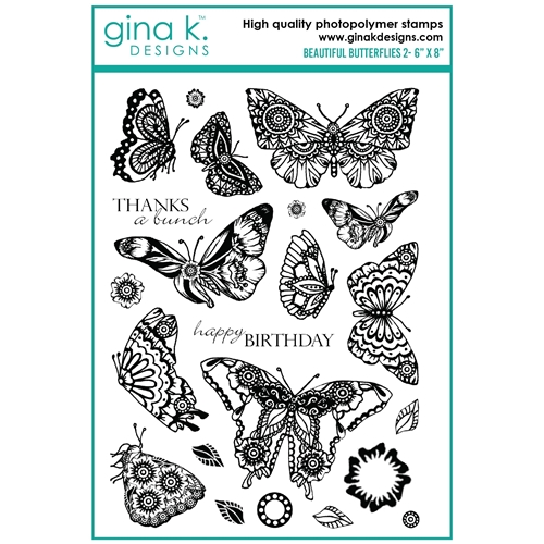 Gina K Designs BEAUTIFUL BUTTERFLIES 2 Clear Stamps mm102 Preview Image