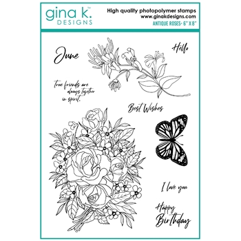 Gina K Designs ANTIQUE ROSES Clear Stamps hs25