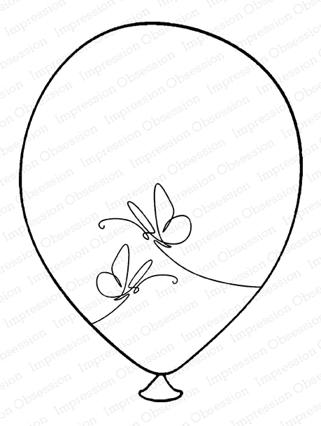 Impression Obsession Cling Stamp BUTTERFLY BALLOON G20943 zoom image