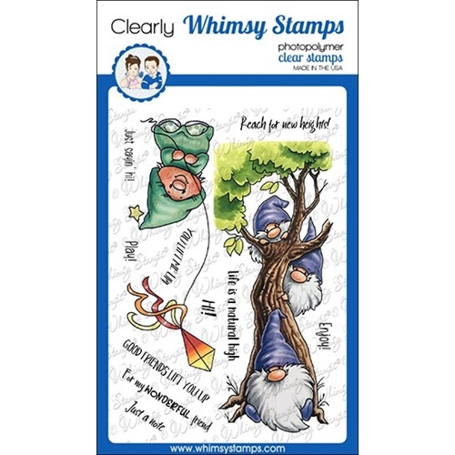 Whimsy Stamps GNOME LIFT YOU UP Clear Stamps C1117a Preview Image