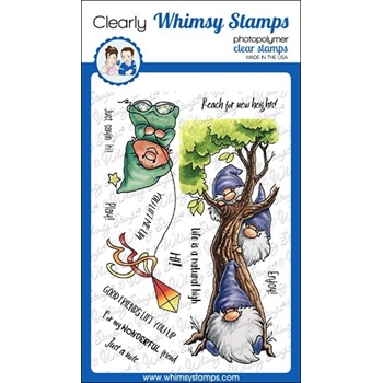 Whimsy Stamps GNOME LIFT YOU UP Clear Stamps C1117a