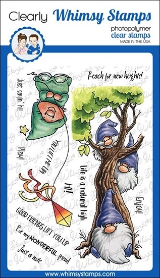 Whimsy Stamps GNOME LIFT YOU UP Clear Stamps C1117a zoom image