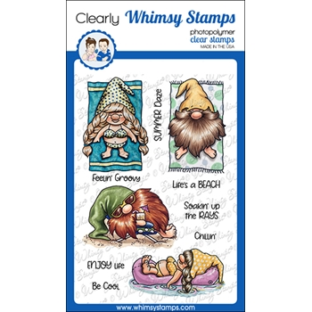 Whimsy Stamps GNOMES AT THE BEACH Clear Stamps C1113a