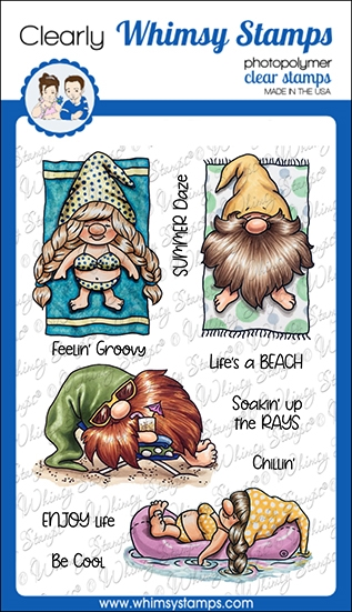 Whimsy Stamps GNOMES AT THE BEACH Clear Stamps C1113a zoom image