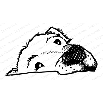 Impression Obsession Cling Stamp DOG FACE E21394