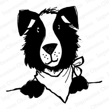 Impression Obsession Cling Stamp DOG WITH BANDANA D21392 Preview Image